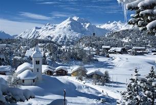 ENGADIN St. Moritz: Winterpanorama Maloja