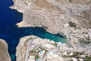 Malta-visitmalta-Gozo-Xlendi Bay Aerial View by Jurgen Scicluna