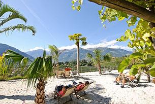 Giardini Merano per bambini, spiaggia delle palme